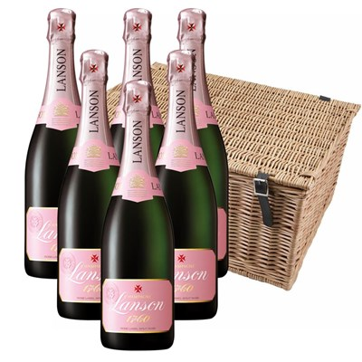 Lanson Rose Label 75cl Champagne Gift Case of 6 Hamper